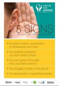 5 signs you are losing your hearing poster